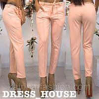 Персиковые коттоновые летние брюки со стрелками и пояском