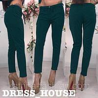 Зеленые коттоновые летние брюки со стрелками и пояском