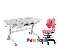 Растущая парта-трансформер FunDesk Amare Grey с выдвижным  ящиком + Детское кресло SST6