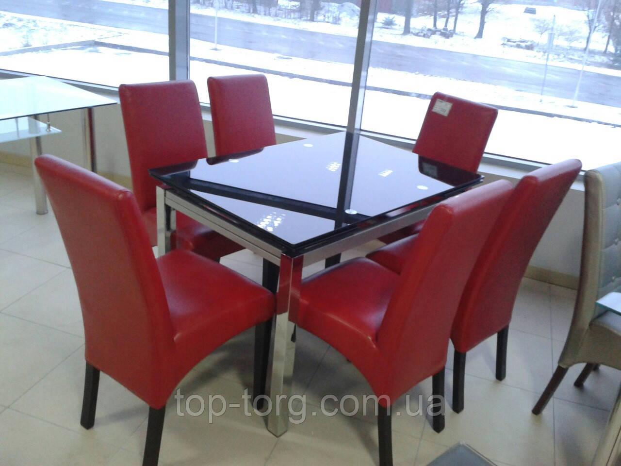Стол стеклянный ТВ017 черный 1100(+2вставки по 30)х750мм раскладной