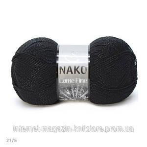 Пряжа Nako Lame Fine Черный | серебро люрекс