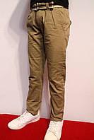 Весенне-осенние стрейчевые котоновые брюки песочного цвета, для мальчиков от 4 до 12 лет.(116-146см) Польша
