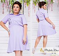 Платье приталенное льняное с рубашечным воротником
