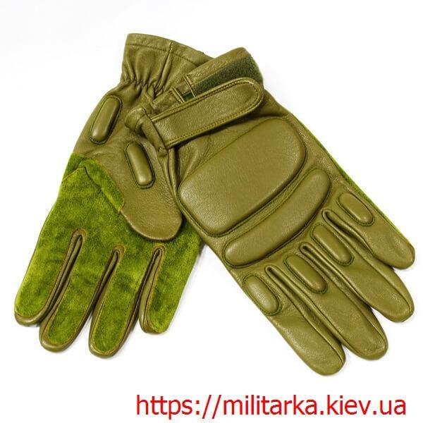 Тактические перчатки с пальцами кожа олива