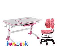 Парта для подростка FunDesk Amare Pink + Детское кресло SST6 Pink