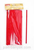 Соломка с изгибом для коктейлей красная 50 штук длина 28,5 см пластик Empire