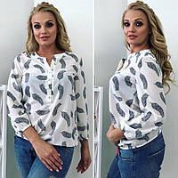 Женская летняя блуза с модным принтом белого цвета , фото 1