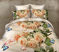 """Комплект двушка постельного белья из ранфорса ТМ """"Ловец снов"""", Роза персик"""