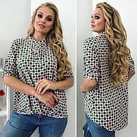 Женская летняя блуза с модным принтом. Размер 46,48,50