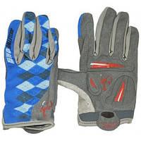 Велоперчатки с пальцами Ромб серо-синие М