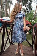 Платье летнее миди из стрейч-льна П208