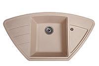 Гранитная мойка 98*50 см угловая Galati Jorum 98B Piesok (301) цвет песок Доставка бесплатно