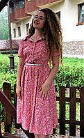 Платье летнее миди из коралового стрейч-льна П208