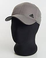 Бейсболка шестиклинка серая с черным кантом плащевка перфорация Adidas