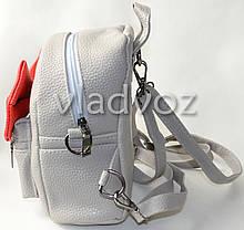 cf7a494407f2 Молодежный модный рюкзак подросток девочка с бантиком серый, фото 3