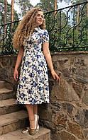Платье летнее миди из стрейч-льна с карманами П208
