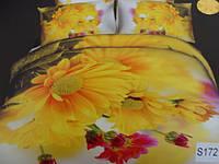 Сатиновое постельное белье евро 3D ELWAY S172