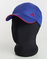 Бейсболка шестиклинка ярко-синяя с красным кантом плащевка перфорация Adidas