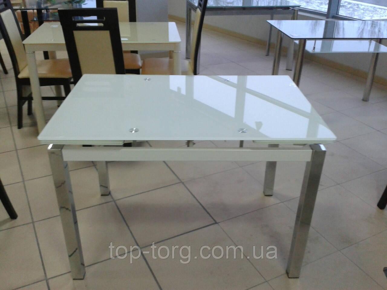 Стол стеклянный ТВ017 ультра белый 1100(+2вставки по 30)х750мм раскладной