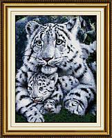 """Набор для рисования камнями (холст) """"Белая тигрица и детеныш"""" LasKo TT024"""