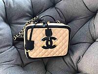 Кожаная брендовая сумочка.Люкс качество бежевая 1129