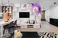 3д обои фото на стену Фиолетовые цветы
