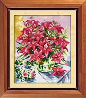 """Набор для рисования камнями (холст) """"Лилии в вазе"""" LasKo TK041"""