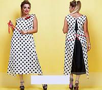 Платье летнее стретчевое в горох,  с 46-60 размеры, фото 1