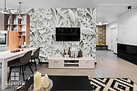 3Д фотообои на стену Каменные белые цветы