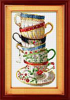 """Набор для рисования камнями (холст) """"Набор кофейных чашек"""" LasKo TK012"""