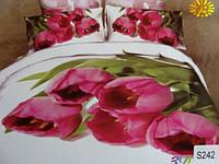 Сатиновое постельное белье евро 3D ELWAY S242