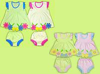 Платье и трусики для девочек. Ясельный летний комплект для девочки. Летнее платье и трусики для девочки.