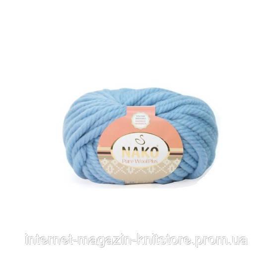 Пряжа Nako Pure Wool Plus Голубой