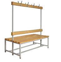 Двусторонняя скамья со спинкой и вешалкой для раздевалок