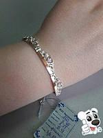 """Женский серебряный браслет """"Корона"""" арт.503 из серебра925 и пластин золота375 с белыми фианитами"""