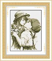 """Набор для рисования камнями (холст) """"Первый поцелуй"""" LasKo TL002"""