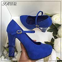 Туфли на каблуке,цвет синий,рр 23,5см,25см