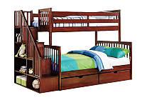 """Кровать трехместная двухъярусная деревянная """"Жанна"""""""
