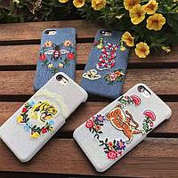 """Iphone 6/6s 4.7 оригинальный кожаный чехол панель бампер накладка ДЖИНС """" GUCCI """""""