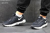 Мужские кроссовки NIKE, сетка, темно синие с белым / кроссовки для бега мужские НАЙК, удобные