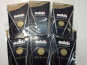 Спицы для кругового вязания на золотой леске  Addi (Германия) - 80 см