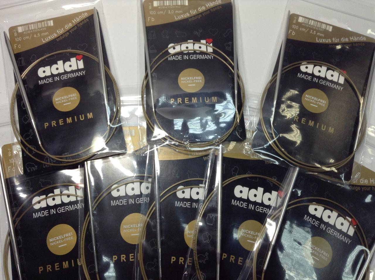 Спицы для кругового вязания на золотой леске  Addi (Германия) - 100 см