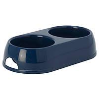 Moderna МОДЕРНА ЭКО двойная миска для собак и кошек, пластик, 2х570 мл, черничный