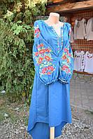 """Вишите плаття бохо """"Квітковий оркестр"""" синє"""