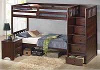 """Кровать трехместная двухъярусная деревянная """"Сатурн"""""""