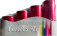 Свечи цилиндры (4шт), цвет красный металлик