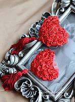 Неклейки на соски в виде сердечек с розочками Красные