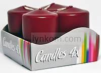 Свеча декоративная цилиндрическая 40х80мм бордовая (4шт)