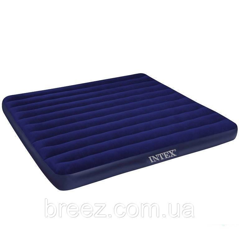 Надувной матрас Intex 68755 синий двуспальный 203 х 183 х 22 см