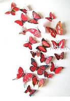 Бабочки для декора 12 шт., красные